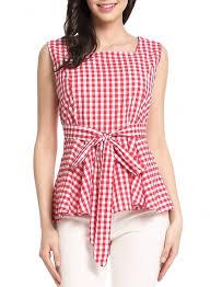 sleeveless ruffle blouse s plaid square neck sleeveless bow knot ruffle blouse