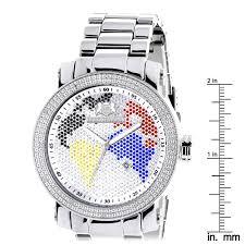 World Map Watch Luxurman World Map Mens Diamond Watch 0 12ct