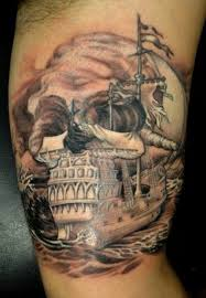 nautical skull ship on bicep by sergey gas