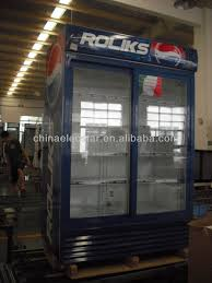 sale upright two glass door fridge with bright lamp commercial