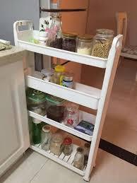 Spice Rack Holder Rolling 3 4 Shelf Slim Can Spice Rack Holder Cart Kitchen Storage