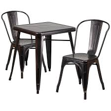 B Q Bistro Table And Chairs Metal Indoor Outdoor Table Set With 2 Arm Chairs Available In 8