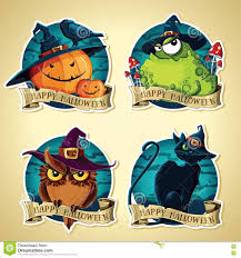 set of halloween vintage vector labels with pumpkins toad owl