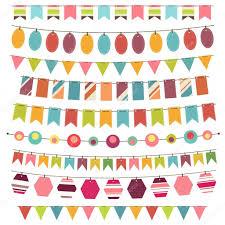 colorful bunting and garland set stock vector precious
