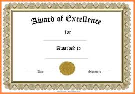 Free Certificate Of Excellence Template Blank Certificate Template Certificate Template Free Blank