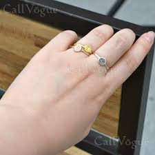 girls rings hand images Sterling silver initial rings pink gold plated callvogue jpg