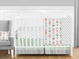 Coral Nursery Bedding Sets by Sweet Jojo Designs Mod Arrow Collection Coral And Mint 11 Piece