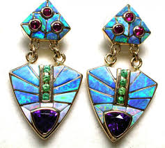 turquoise opal earrings what is opal inlay opal auctions