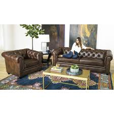 Overstock Living Room Sets Abbyson Tuscan Top Grain Leather Chesterfield 2 Living Room