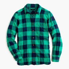 shrunken boy shirt in emerald buffalo check women button ups j