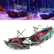 aquarium artificial sunk wreck ship decoration fish tank air split