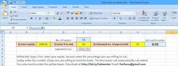 percentage calculator excel simple lot size calculator using excel only 3 inputs forex
