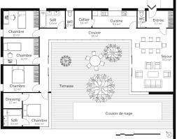 plan de maison de plain pied avec 4 chambres plan maison en u avec 4 chambres ooreka