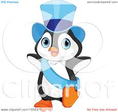 new year sash clipart of a new year penguin in a blue top hat and