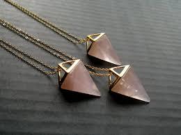 gold rose quartz necklace images Rose quartz necklace triangle necklace rose quartz pendant jpg