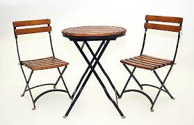 Iron Bistro Chairs Child Bistro Set Slat Wood Iron Folding Table W 2 Chairs Natural