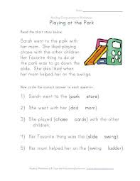 complete the sentences going to the park reading comprehension