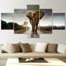 5 piece canvas wall art elephant pictures landscape large wall