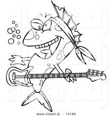 vector of cartoon rocker fish coloring page outline by toonaday