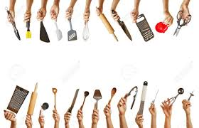 frame with many hands holding different kitchen tools like knife