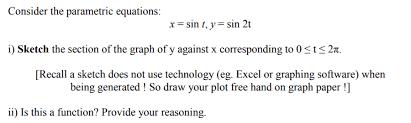 consider the parametric equations x u003d sin t y u003d chegg com