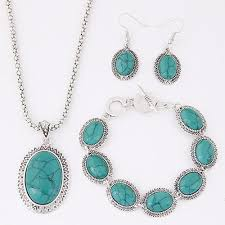 blue stone necklace earrings images Fashion all match elegant red blue stone jewelry sets oval jpg