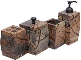 Bathroom Accessories Supplier by Wholesale Set Of 4 Bathroom Accessories In Streaked Brown Marble