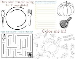 thanksgiving coloring placemats arts coloring placemats