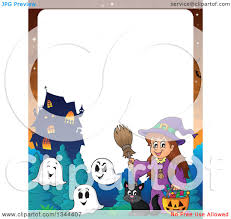 clipart of a cartoon border of a happy witch with a
