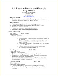 Resume Text Example Example Of A Job Resume