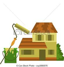clip art vector of home painting roller brush with yellow paint