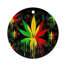 marijuana leaf rasta colors paint ornamen by bluedarkartgifts