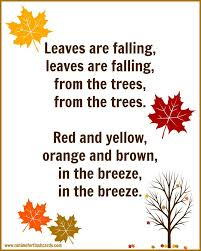 fall song for preschool with free printable lyrics free