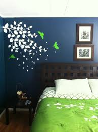 Dark Blue Accent Wall by Dark Blue Bedroom With Bright Green Accents Wall Color Behr