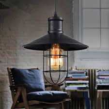 Retro Hanging Light Fixtures Vintage Iron Pendant Light Industrial Loft Ls E27 Cage