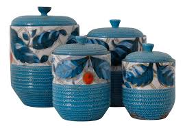 vintage used blue kitchen accessories chairish bitossi italian kitchen canisters set of 4