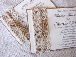 Cheap Rustic Wedding Invitations Tan Invitation With Burlap And Lace Handmade Rustic Lace And