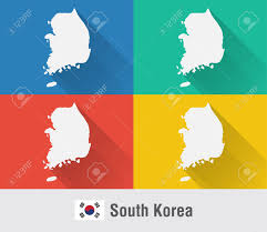 Flat World Map South Korea World Map In Flat Style With 4 Colors Modern Map