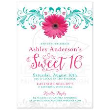 Sweet Sixteen Invitations Cards Sweet 16 Birthday Invitation Pink Teal Gerber Daisy Floral