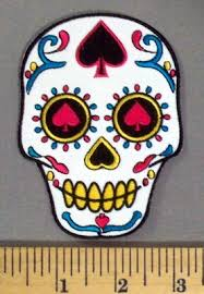 5141 cp white sugar skull with spade in forehead and