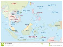 Eastern Asia Map Southeast Asia Map Stock Vector Image 48133156
