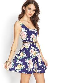blue summer dresses 2014 with roses
