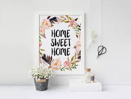 printable art home sweet home floral wall art