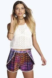 shorts womens shorts shorts clothing lola aztec pom pom runner