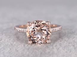morganite engagement ring gold 9mm morganite engagement ring wedding ring 14k