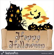 halloween theme with happy halloween banner 1 stock