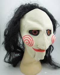 scary latex saw mask with long black hair movie mask creepy