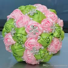 quinceanera bouquets green and pink wedding bridal bouquets wedding supplies artificial