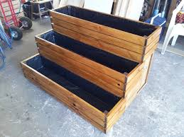 3 tier planter box stained in maple made to order planter boxes