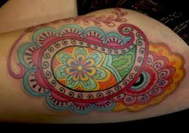 colorful paisley pattern tattoo design idea golfian com